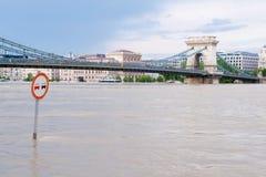 Chain bro på floden Royaltyfri Bild