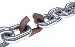 Chain and broken corrosion link. 3d illustration Stock Photography
