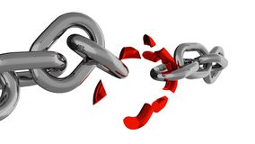 Chain With Broken Red Element Stock Photography