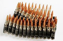 Chain of bullets over white, horizontal Royalty Free Stock Photo