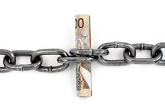 Chain and canadian dollar, concept of financial support Royalty Free Stock Photos