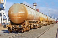 Chain of cargo wagons Royalty Free Stock Photography