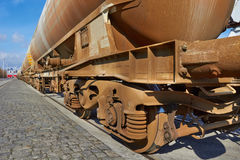 Chain of cargo wagons Royalty Free Stock Photos