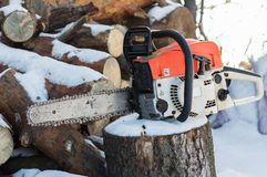 The chain of the chainsaw Stock Photography
