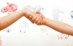 Chain of children's hands Stock Photography