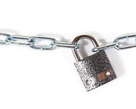 Chain. Chrome chain with a lock. on white background stock photography