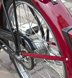 Chain classic red moped Royalty Free Stock Image