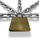 Chain closed with a lock. Stock Photo