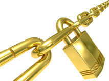 Chain closed by lock on  white background Stock Photo