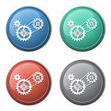 Chain with cogwheels icon Stock Image