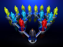 Chain of Command. Graphic depiction of a downline or chain of command in a sales structure showing one man at the top, branching out exponentionally Stock Photography