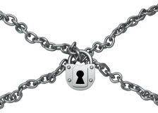 Chain Cross Locked Royalty Free Stock Photography