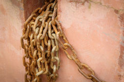Chain damaged from many rust. An Old Rusty Naval Chain Stock Images