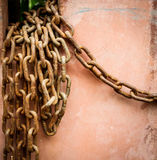 Chain damaged from many rust. An Old Rusty Naval Chain Royalty Free Stock Image