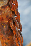 Chain damaged from many rust, An Old Rusty Naval Chain. Stock Photos