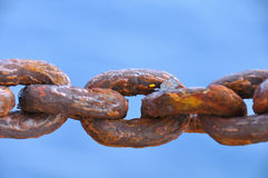 Chain damaged from many rust, An Old Rusty Naval Chain. Royalty Free Stock Photography