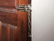 Chain door lock Royalty Free Stock Images