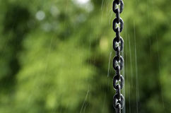 Chain drainpipe. For water rain Stock Photo