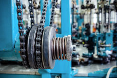 Chain drive, drive element of braiding machine. Royalty Free Stock Image