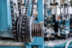 Chain drive, drive element of braiding machine. Royalty Free Stock Photo