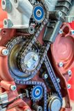 The chain of drive timing of the internal combustion engine stock photo