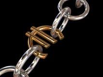 chain eurosilver Arkivfoton