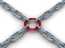 Chain fastened by a red ring. Royalty Free Stock Image