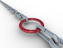 Chain fastened by a red ring. Stock Photography