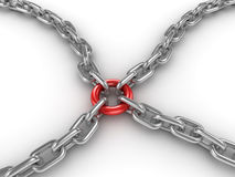 Chain fastened by a red ring. This is a 3d rendered computer generated image. on white stock illustration