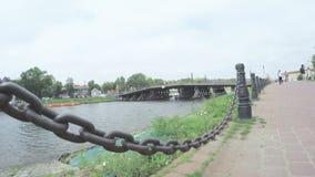 Chain fence on embankment of the Neva stock video