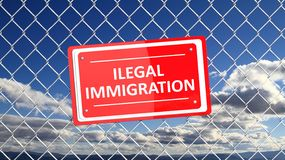 Chain fence with red sign Illegal Immigration. With blue sky background vector illustration