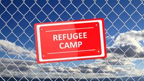 Chain fence with red sign Refugee camp Royalty Free Stock Images