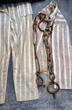 Chain, fetter and prisoner clothes in a prison Royalty Free Stock Images