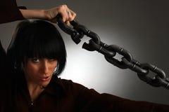 chain flickaholdingmetall Fotografering för Bildbyråer