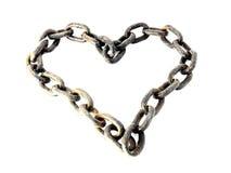 chain format rostigt för hjärtametall Royaltyfri Bild