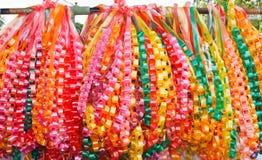 Chain garlands ,made of ribbon. Royalty Free Stock Photo