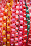 Chain garlands ,made of ribbon. Royalty Free Stock Photos