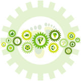 Chain of gear wheels filled with bio eco environmental icons and Royalty Free Stock Image
