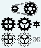 Chain gears and set cogs Royalty Free Stock Photography