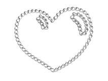 chain glansig hjärta isolerad white Royaltyfria Foton