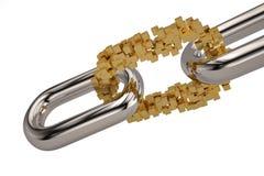 Chain with gold blocks link.3D illustration. Chain with gold blocks link. 3D illustration royalty free illustration