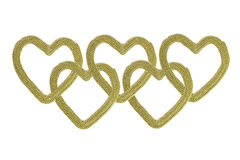 Chain of gold hearts Royalty Free Stock Photos