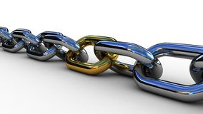 Chain with a gold link, 3D Stock Image
