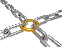 Chain with a gold ring inside isolated on a white Stock Image