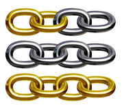 Chain (gold and silver). Illustration 3D Royalty Free Stock Photo