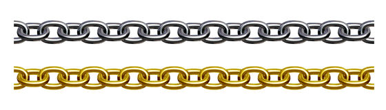 Chain (gold and silver). Illustration 3D Royalty Free Stock Image
