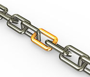 Chain with golden link Royalty Free Stock Image