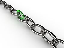 Chain with green link Royalty Free Stock Photography