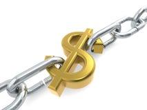 Chain guld för dollar Arkivbild