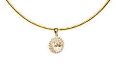 chain guld- isolerat hänge Arkivbilder